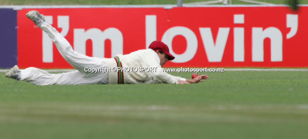 Brendan Nash dives and misses a ball in the outfield during the final day. Second Test Match, National Bank Test Series. New Zealand v West Indies. McLean Park, Napier. 23 December 2008,  Photo: John Cowpland/PHOTOSPORT