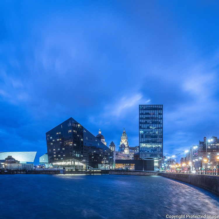Mann Island Buildings with Royal Liver Building beyond, Liverpool, Merseyside.
