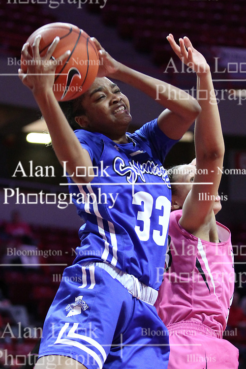 NORMAL, IL - February 10: Ty Battle during a college women's basketball Play4Kay game between the ISU Redbirds and the Indiana State Sycamores on February 10 2019 at Redbird Arena in Normal, IL. (Photo by Alan Look)