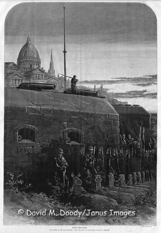 "Ghostly soldiers guard the graves of the fallen in front of a fort with no flag and the capitol dome and white house behind it. ""Hold The Fort""  by Thomas Nast from Harper's Weekly Post Civil War reflections"