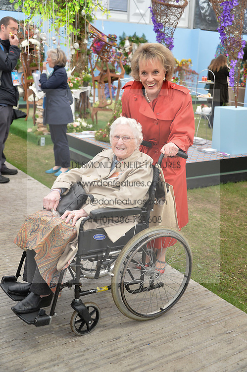 DAME ESTHER RANTZEN and ROSEMARY POWELL who has attended the Chelsea Flower show for 82 years at the 2015 RHS Chelsea Flower Show at the Royal Hospital Chelsea, London on 18th May 2015.