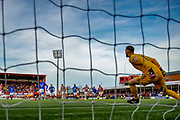 Rangers Captain James Tavernier converts from the spot putting his side 3-0 up before half time during the Ladbrokes Scottish Premiership match between Hamilton Academical FC and Rangers at The Hope CBD Stadium, Hamilton, Scotland on 24 February 2019.