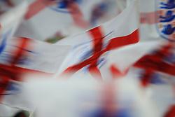 14 November 2017 -  International Friendly - England v Brazil - Motion blur of flags bearing the George Cross - Photo: Marc Atkins/Offside