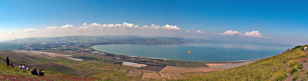 Israel, Golan Heights, Panoramic view towards the Sea of Galilee, April 2009