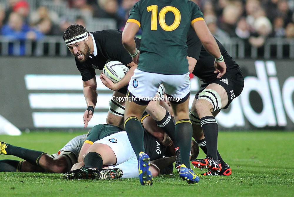 All Blacks' Jeremy Thrush breaks forward. New Zealand All Blacks V South Africa.The Rugby Championship. Rugby Union Test Match. Westpac Stadium, Wellington. 13 September 2014. Photo.: Grant Down / www.photosport.co.nz