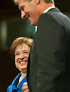 June 28, 2010 - Washington, District of Columbia, U.S., -  Solicitor General Elena Kagan shares a moment with Senator Scott Brown before he introduces her to the Senate Judiciary Committee during her  hearings on her nomination to be an associate justice of the Supreme Court.(Credit Image: © Pete Marovich/ZUMA Press)