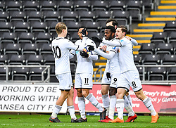 Botti Biabi of Swansea City celebrates his goal with team mates - Mandatory by-line: Craig Thomas/Replay images - 18/03/2018 - FOOTBALL - Liberty Stadium - Swansea, England - Swansea City U23 v Manchester United U23 - Premier League 2 - Divison 1