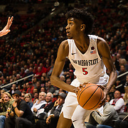 27 February 2018: San Diego State men's basketball hosts Boise State in their last meet up of the regular season at Viejas Arena. San Diego State Aztecs forward Jalen McDaniels (5) looks to shoot during the second half. The Aztecs beat the Broncos 72-64.  <br /> More game action at sdsuaztecphotos.com