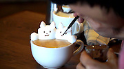 "The first 3D latte art in the world<br /> <br /> 3D printer, 3D movie, and,,, next comes 3D Latte Art!!!<br /> 3D latte art is an art style where the artist uses whipped cream to decorate coffee cups with all sorts of shapes and designs. They say it was invented and spread throughout the world by Barista Kazuki Yamamoto. Yamamoto's work encompasses a wide range of designs, from animals to popular characters. The Cat and Rabbit that he made during our interview with him were so adorable that we hesitated to drink them. We went to the cafe that Yamamoto manages, called ""Reissue,"" in Harajuku, to see what 3D Latte Art is like in person.<br /> ©Exclusivepix Media"