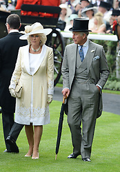 The DUCHESS OF CORNWALL and HRH The PRINCE OF WALES at Day 1 of the 2013 Royal Ascot Racing Festival at Ascot Racecourse, Ascot, Berkshire on 18th June 2013.