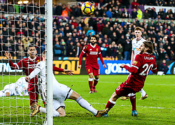Adam Lallana of Liverpool has a late chance - Rogan/JMP - 22/01/2018 - FOOTBALL - Liberty Stadium - Swansea, Wales - Swansea City v Liverpool - Premier League.