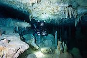Un plongeur en recycleur explore la cenote Chan Hol, province du Yucatan, Mexique. | Rebreather cave diver explore Chan Hol  cenote system located in Yucatan, Mexico.