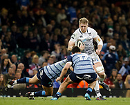 Ospreys' Bradley Davies under pressure from  Cardiff Blues' Kirby Myhill<br /> <br /> Photographer Simon King/Replay Images<br /> <br /> Guinness PRO14 Round 21 - Cardiff Blues v Ospreys - Saturday 28th April 2018 - Principality Stadium - Cardiff<br /> <br /> World Copyright © Replay Images . All rights reserved. info@replayimages.co.uk - http://replayimages.co.uk