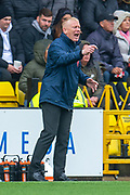 Livingston manager Gary Holt shouts instructions to his players during the Ladbrokes Scottish Premiership match between Livingston FC and Celtic FC at The Tony Macaroni Arena, Livingston, Scotland on 6 October 2019.