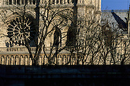 France. Paris. 4th district. Notre dame Cathedral  . Main facade and