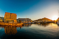 V&A Waterfront with Cape Grace Hotel and Table Mountain behind, Cape Town, South Africa.