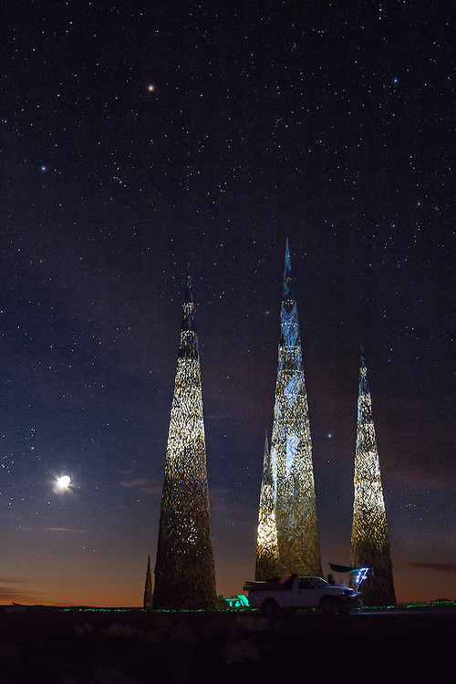 Subterrafuge spires at night, AfrikaBurn 2014, Tankwa Karoo desert, South Africa. The art installation is a comment against fracking in the Karoo desert.
