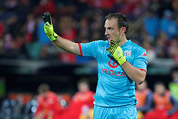 ADELAIDE, AUSTRALIA - Monday, July 20, 2015: Adelaide United's goalkeeper Eugene Galekovic in action against Liverpool during a preseason friendly match at the Adelaide Oval on day eight of the club's preseason tour. (Pic by David Rawcliffe/Propaganda)