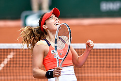 PARIS, June 3, 2017  Alize Cornet of France celebrates victory after the women's singles 3rd round match against Agnieszka Radwanska of Poland at the French Open Tennis Tournament 2017 in Paris, France on June 3, 2017. (Credit Image: © Chen Yichen/Xinhua via ZUMA Wire)