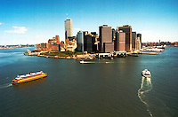 Aerial view of the Staten Island Ferry approaching lower Manhattan with the world trade center in the new york harbor, battery park, financial district, wall street