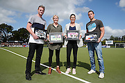 Retiring Black Sticks players Bradley Shaw, Emily Gaddum, Kayla Whitelock and Kyle Pontifex are presented with gifts prior to the match. Black Sticks Women vs Australia, Ford Trans-Tasman Trophy test series, Lloyd Elsmore Hockey Stadium, Auckland, New Zealand. 20 November 2016. © Copyright Image: www.photosport.nz