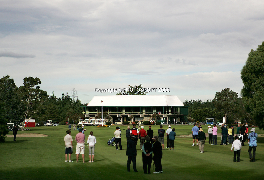 Shandon's Andrew Green and Australia's Mitchell Brown walk up the 9th fairway during the final of the 2006 New Zealand Mens Golf Amateur Championship final at Coringa Golf Course, Christchurch, on Sunday 9 April 2006. Photo: Tim Hales/PHOTOSPORT