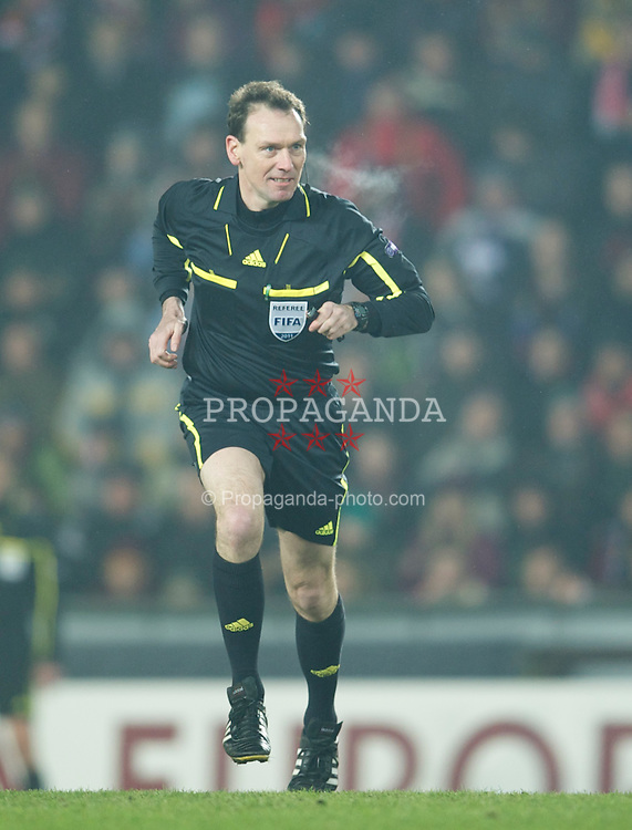 PRAGUE, CZECH REPUBLIC, Thursday, February 17, 2011: German referee Florian Meyer takes charge during the UEFA Europa League Round of 32 1st leg match between AC Sparta Prague and Liverpool at the Letna? Stadion . (Photo by David Rawcliffe/Propaganda)