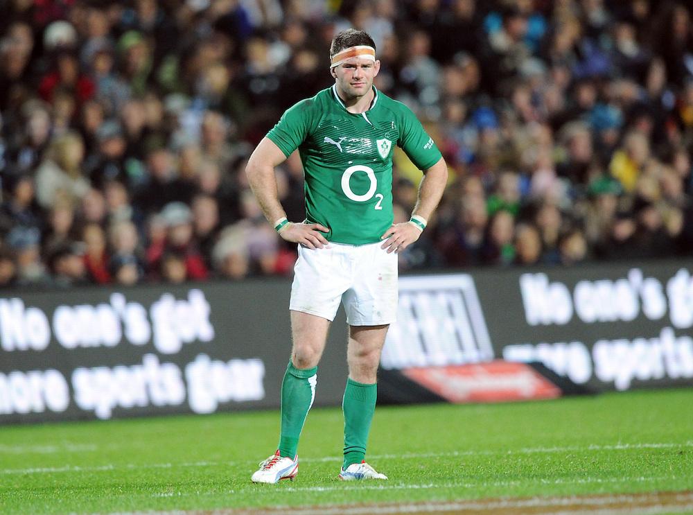 Ireland's Fergus McFadden exhausted against New Zealand in the International 3rd test rugby match at Waikato Stadium, Hamilton, New Zealand, Saturday, June 23, 2012. Credit:SNPA / Ross Setford