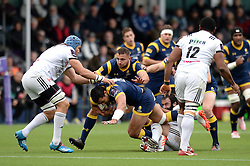 Ben Te'o of Worcester Warriors is challenged - Mandatory by-line: Dougie Allward/JMP - 22/10/2016 - RUGBY - Sixways Stadium - Worcester, England - Worcester Warriors v Brive - European Challenge Cup