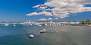 Sag Harbor, New York, the harbor and pier,  with yachts,  Wharf Street