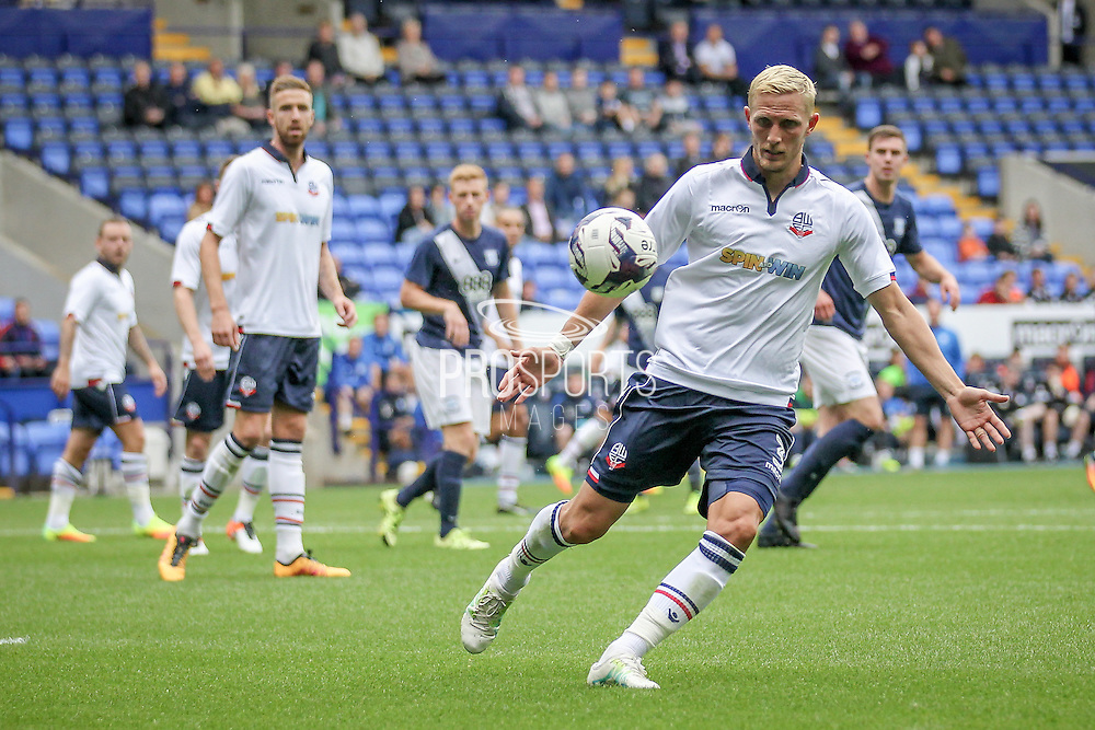 Dean Moxey (Bolton Wanderers) sees the ball back to his keeper during the Pre-Season Friendly match between Bolton Wanderers and Preston North End at the Macron Stadium, Bolton, England on 30 July 2016. Photo by Mark P Doherty.