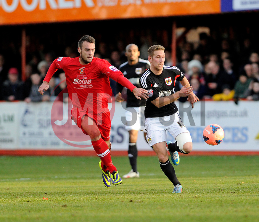Bristol City's Scott Wagstaff chases the ball - Photo mandatory by-line: Dougie Allward/JMP - Tel: Mobile: 07966 386802 08/12/2013 - SPORT - Football - Tamworth - The Lamb Ground - Tamworth v Bristol City - FA Cup - Second Round