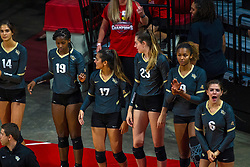 BLOOMINGTON, IL - September 14: Alli Sabol, Makenzie Chambers, .ucf17., Megan Lively, Lache Harper and Dresi Pass during a college Women's volleyball match between the ISU Redbirds and the University of Central Florida (UCF) Knights on September 14 2019 at Illinois State University in Normal, IL. (Photo by Alan Look)
