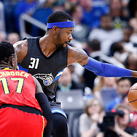 25 February 2017: Atlanta Hawks guard Dennis Schroder (17) defends on Orlando Magic forward Terrence Ross (31) during the Orlando Magic 105-86 victory over the Atlanta Hawks, at the Amway Center, Orlando, Florida, USA.