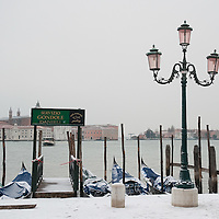 VENICE, ITALY - FEBRUARY 12:  A general view of St Mark's Basin and St George Island on February 12, 2012 in Venice, Italy. Italy, like most of Europe, is experiencing freezing temperatures, with the Venice Lagoon freeezing for the first time in over 20 years.