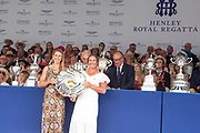 Henley on Thames, England, United Kingdom, 7th July 2019, Henley Royal Regatta  Prize Giving ceremony, Prize Giver, Pete REED, Lt Commander, RN.,  Henley Reach, [© Peter SPURRIER/Intersport Image]<br /> <br /> 17:39:32 1919 - 2019, Royal Henley Peace Regatta Centenary,