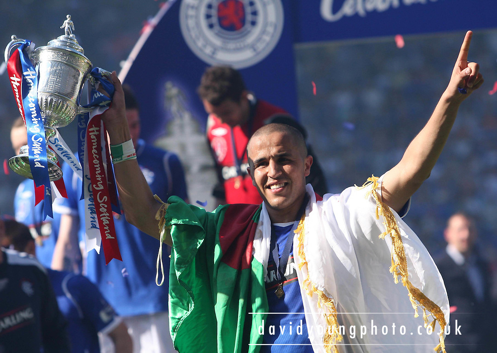 Madjid Bougherra with the Homecoming Scottish FA Cup  - Nacho Novo's goal had won the Final against Falkirk at Hampden Park (picture by David Young - 07765 252616)