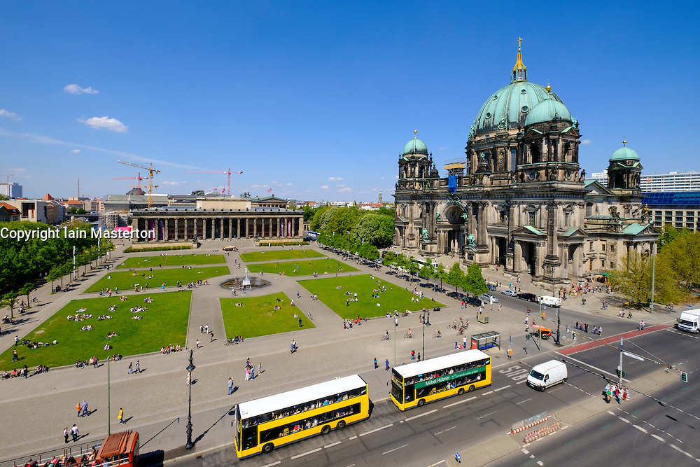 Exterior view of Berliner Dom  , Berlin Cathedral and Altes Museum in Lustgarten square , in Mitte Berlin Germany