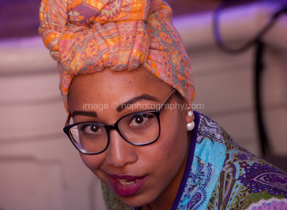 Yassmin Abdel-Magied, Muslim Sudanese-Australian engineer, author, television and radio presenter and activist, discussing 'Free Speech and Cultural Appropriation' at the Dalkey Book Festival, Dalkey, County Dublin, Ireland, Sunday 18th June 2017. Photo credit: Doreen Kennedy