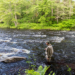 Fly-fishing on the Crooked River in Otisfield, Maine.