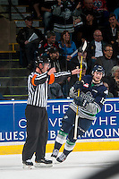 KELOWNA, CANADA - APRIL 22: Ryan Gropp #12 of Seattle Thunderbirds celebrates a goal against the Kelowna Rockets on April 22, 2016 at Prospera Place in Kelowna, British Columbia, Canada.  (Photo by Marissa Baecker/Shoot the Breeze)  *** Local Caption *** Ryan Gropp;