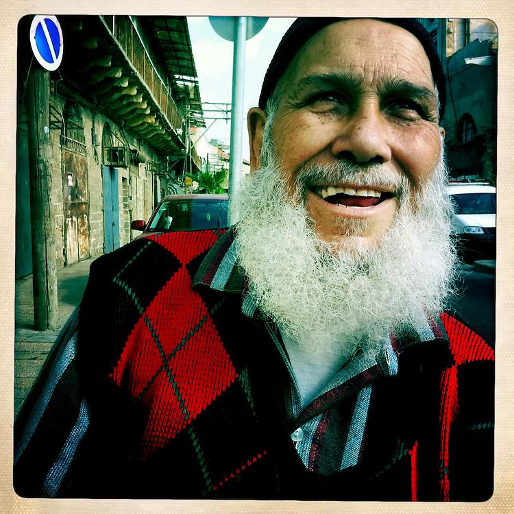 A Moroccan immigrant to Israel on Jaffa street in Jaffa, Israel.