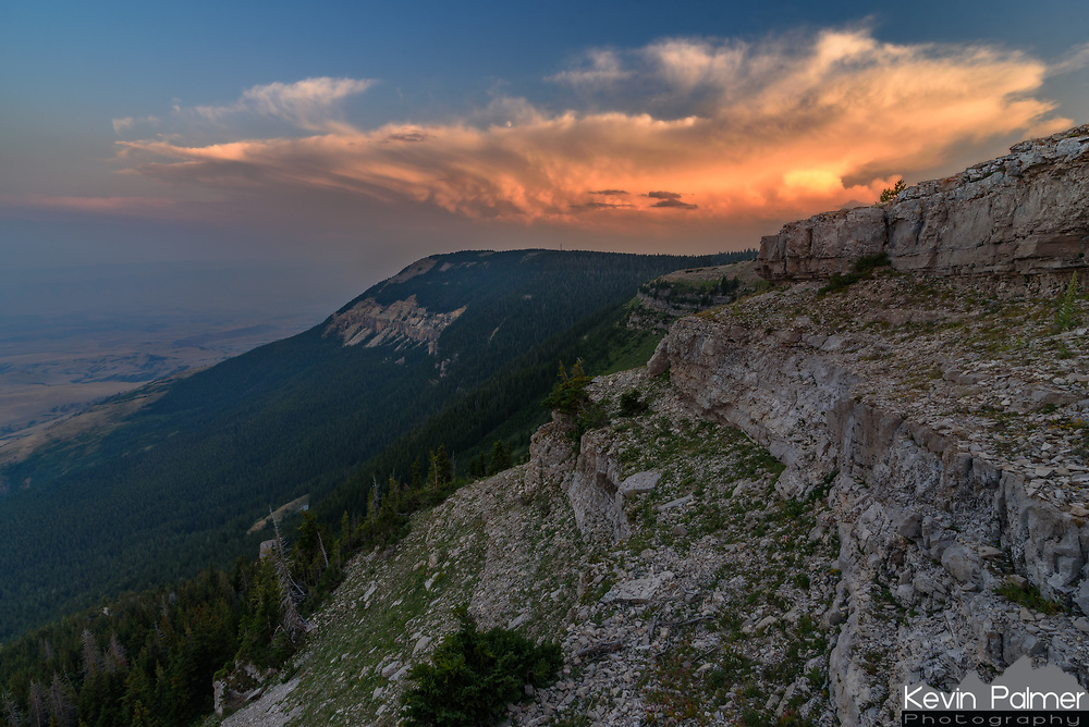 After a rough 35 mile drive on rocky dirt roads, I reached the Dry Fork Overlook at the top of the Pryor Mountains just before sunset. There was a large thunderstorm to the south in Wyoming, which lit up with color.