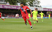 Vadaine Oliver during the Sky Bet League 2 match between York City and Hartlepool United at Bootham Crescent, York, England on 15 August 2015. Photo by Simon Davies.