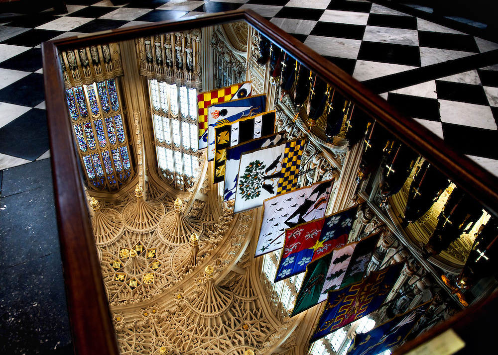 Chapel of Henry VII, Westminster Abbey, showing the fan vault ceiling, line of banners, and a window as reflected in a mirror table placed for the purpose.