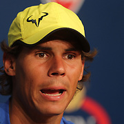 Rafael Nadal, Spain, during a press conference at the US Open. Flushing. New York, USA. 24th August 2013. Photo Tim Clayton