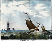 Cirrus clouds over a seascape. Coloured lithograph 1845.