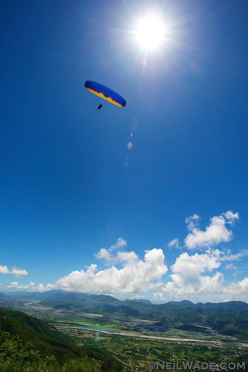 Paragliding on the Gaotai near Taitung, Taiwan.