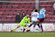 Scunthorpe United player Kevin van Veen (10) takes shot at goial missed during the EFL Sky Bet League 2 match between Scunthorpe United and Colchester United at Glanford Park, Scunthorpe, England on 14 December 2019.