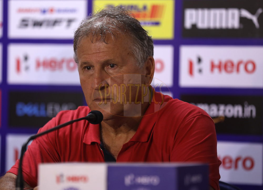 FC Goa coach Zico during the press conference after the  match 8 of the Indian Super League (ISL) season 3 between FC Goa and FC Pune City held at the Fatorda Stadium in Goa, India on the 8th October 2016.<br /> <br /> Photo by Sandeep Shetty / ISL/ SPORTZPICS